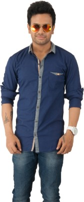 Zed One Men's Solid Casual Blue Shirt