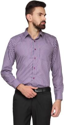 English Navy Men's Checkered Formal Dark Blue, Purple Shirt