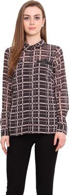 Blink Women's Checkered Casual Black Shirt