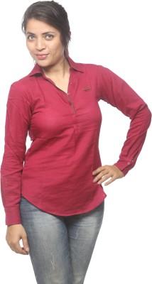 Spykar Women's Solid Casual Purple Shirt