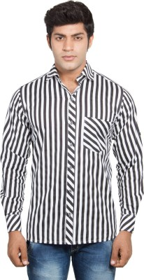 Nauhwar Men's Striped Formal White Shirt