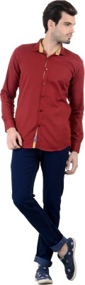 Piccolo Clothings Men's Solid Casual Maroon Shirt