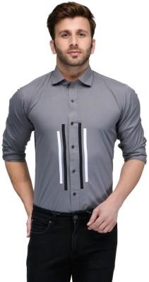 Edjoe Men's Solid Casual, Party Grey Shirt