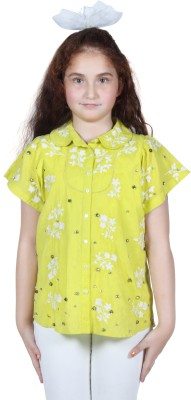 Miss Nightingale Girl's Embellished, Embroidered Party Yellow, White Shirt