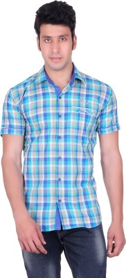 PICKLE Men's Solid, Checkered Casual, Formal, Party, Festive Green Shirt