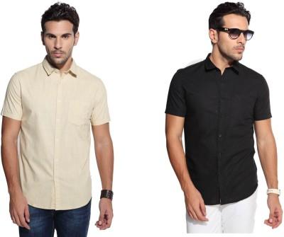 Marc N, Park Men's Solid Casual Beige, Black Shirt