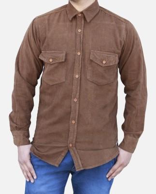 Yzade Men's Striped Casual Brown Shirt