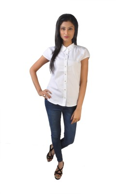 No Code Women's Solid Casual White Shirt
