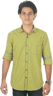 Lapilvi Men's Checkered Casual Yellow, Blue Shirt