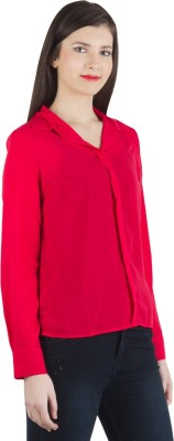 Fashionholic Womens Solid Casual, Formal Red Shirt