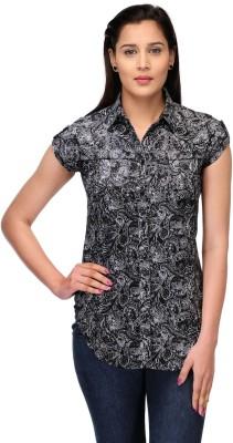 Fashion Cult Women's Printed Casual Black, White Shirt