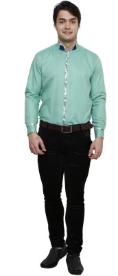 Clubstone Men's Solid Formal Reversible Green Shirt