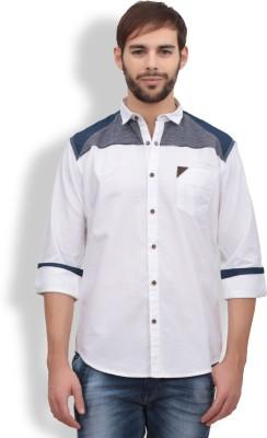 Volume Zero Men's Solid Casual White Shirt