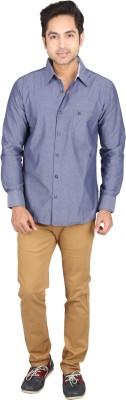 Tasho Zaara Men's Solid Casual Blue Shirt