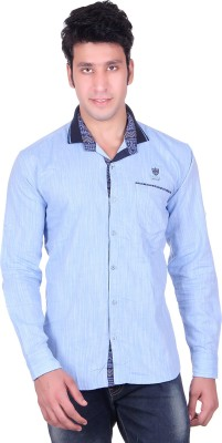 PICKLE Men's Solid Formal Blue Shirt