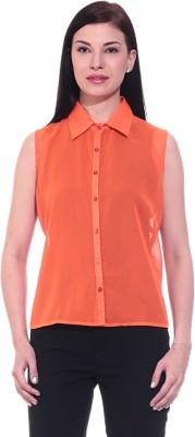 Dinero Women's Solid Casual Orange Shirt