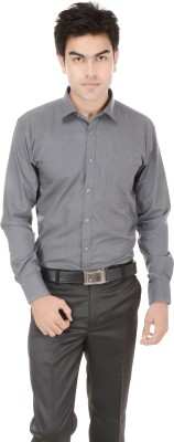 Kalrav Men's Solid Casual, Formal, Party, Wedding Grey Shirt
