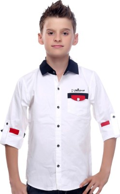 Mash Up Boy's Solid Casual White Shirt