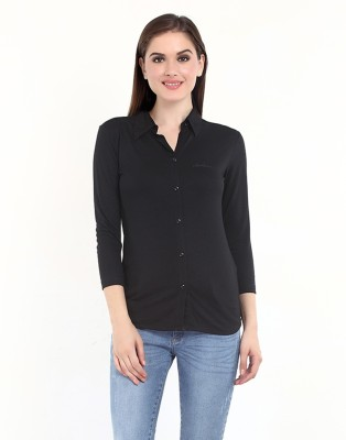 Her Grace Women's Solid Casual Black Shirt