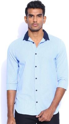 POE Men's Checkered Casual Light Blue Shirt