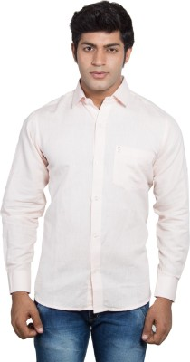 Nauhwar Men's Solid Formal Linen Pink Shirt