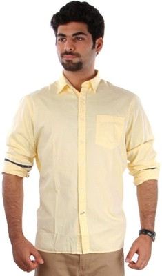 Indian Terrain Men's Solid Formal Yellow, Dark Blue Shirt