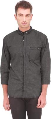 Sleek Line Men's Checkered Casual, Party, Festive, Wedding Black Shirt