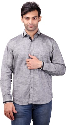 Clubstone Men's Solid Casual Grey Shirt