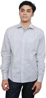 Vaak Men's Printed Casual White Shirt