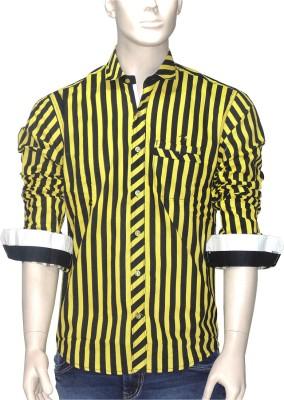 Exin Fashion Men's Striped Casual Yellow, Black Shirt