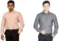 La Melodia Formal Shirts (Men's) - La Melodia Men's Solid Formal Orange, Grey Shirt(Pack of 2)