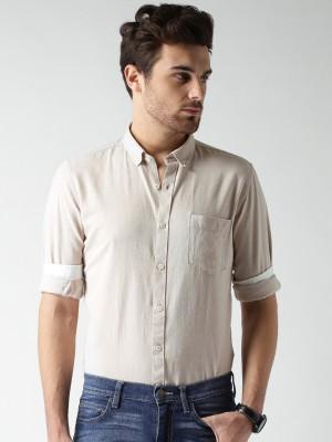 Mast & Harbour Men's Solid Casual Beige Shirt