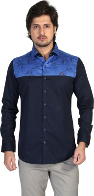 Apris Men's Printed Casual Blue Shirt