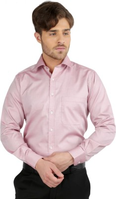 J Hampstead Men's Solid Formal Maroon Shirt