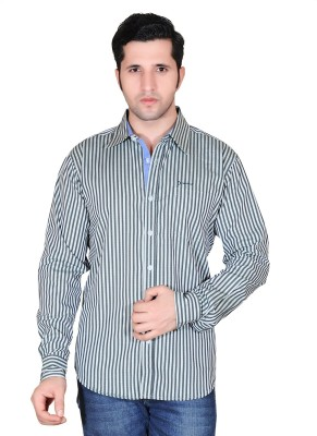 Denimize Men's Striped Casual Green Shirt