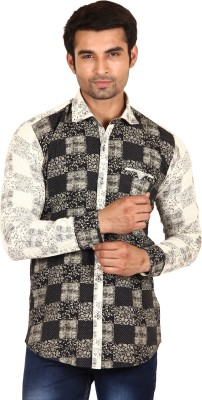 Swiss Culture Men's Printed Casual Black, Beige Shirt