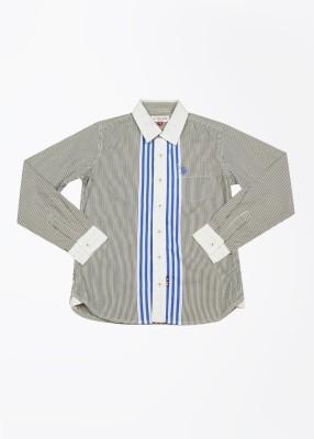 U.S. Polo Assn. Boy's Striped Casual White, Green Shirt