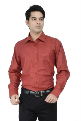 Alpha Centauri Men's Solid Formal Red Shirt