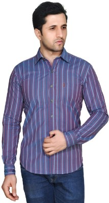 Ubho Core Men's Striped Casual Maroon Shirt