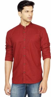 La Seven Men,s Solid Casual Maroon Shirt
