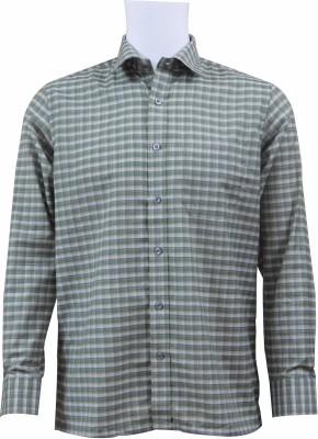 Ardeur Men's Checkered Formal Green Shirt