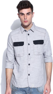 883 Police Men's Woven Casual Blue Shirt