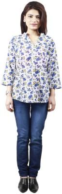 Visach Women's Printed Casual Blue Shirt