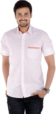 S9 Men's Self Design, Printed Casual, Party, Festive Red, White Shirt