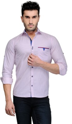 Finder Zone Men's Printed Casual Pink Shirt