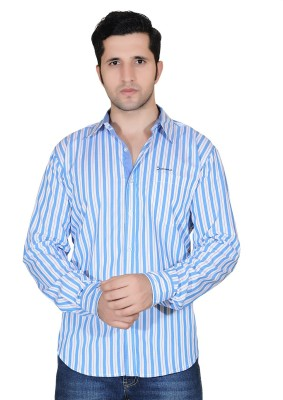 Denimize Men's Striped Casual Blue Shirt