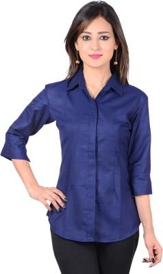 Jazzy Ben Women's Solid Formal Dark Blue Shirt
