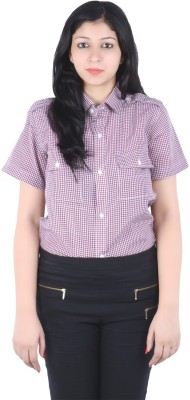 S9 Women's Checkered Casual Maroon, White Shirt