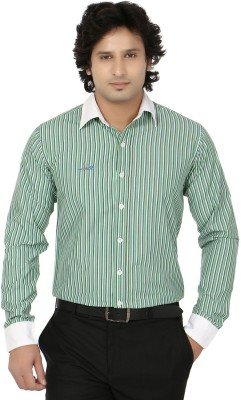 Blimey Men's Striped Formal Green, White Shirt