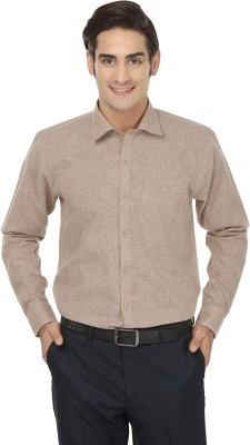 Jainish Men's Solid Formal Brown Shirt